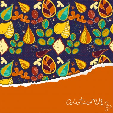 Seamless pattern with autumn leaf and place for your text.