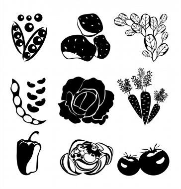 Vector set with decorative black vegetables silhouettes on white background