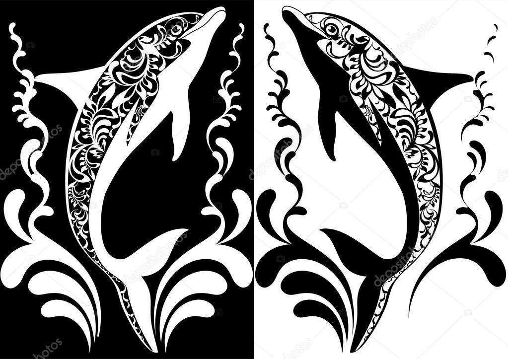 Dos Delfines Ornamentales Con Elementos Decorativos