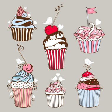 Decorative hand drawn sweet cupcakes
