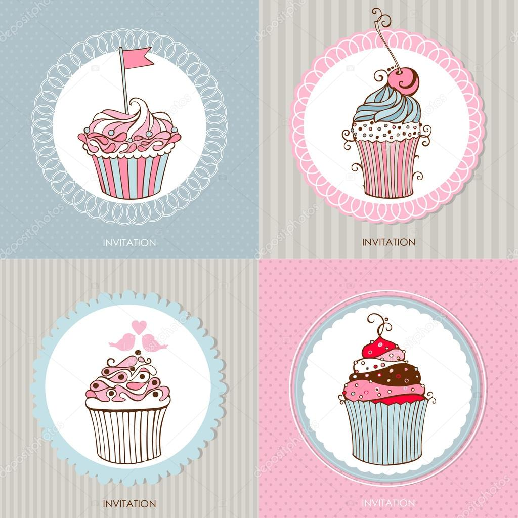 Decorative hand drawn sweet cupcakes cards