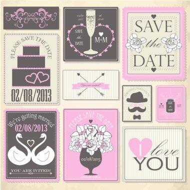 Vector collection of decorative wedding icons clip art vector