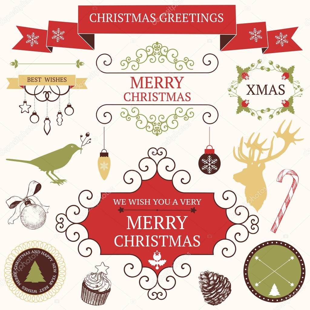 Graficos De Navidad Y Año Nuevo Colección Vector De