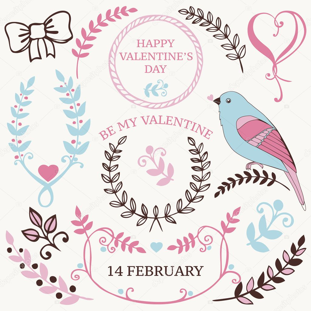 Vector set of Valentine's day design elements and borders ...
