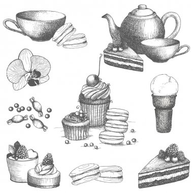 Vector set of vintage sweet cake, candies and teapot.