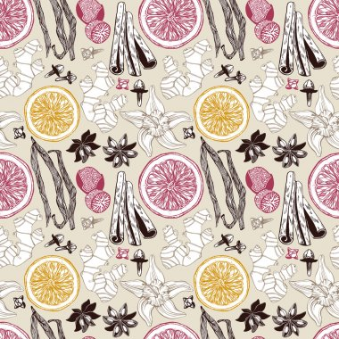 Seamless vector pattern with hand drawn spices.