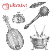 Vintage vector set of national Ukrainian symbols