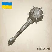 Photo Vintage vector illustrations of national Ukrainian symbol - mace