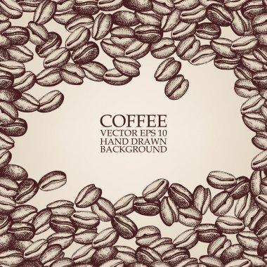 Vector background with hand drawn natural coffee beans