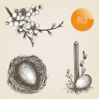 Vector vintage collection of hand drawn Easter illustrations