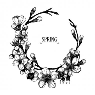Vector spring frame for your card or invitation with hand drawn blooming fruit tree twig illustration
