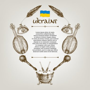 Vintage vector frame of traditional Ukrainian symbols