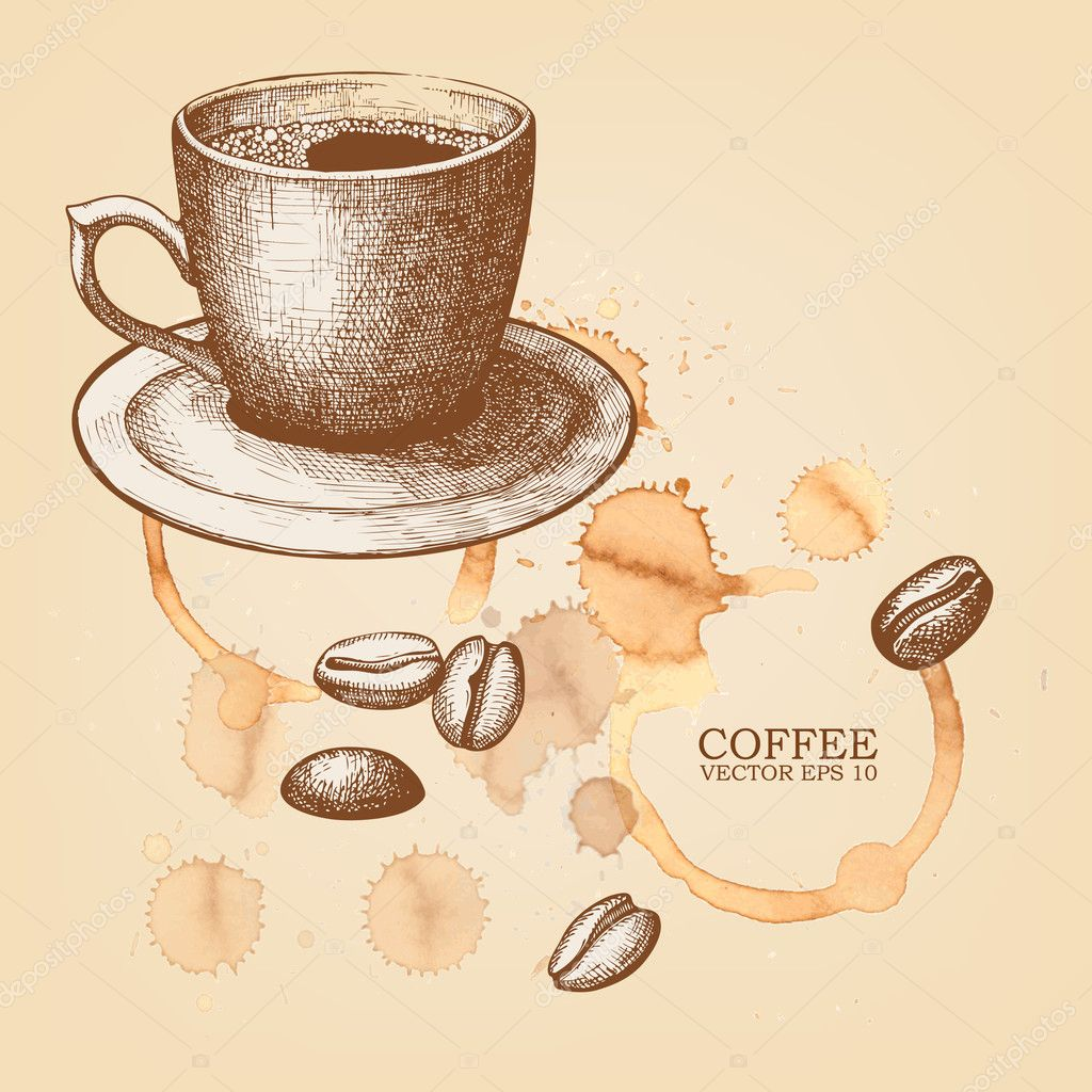 hand drawn coffee cup illustration on spotted background