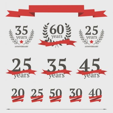 Vector set of anniversary signs