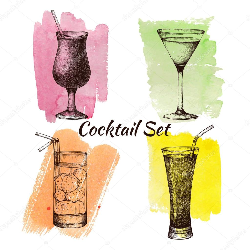 Vintage cocktails and drinks — Stock Vector © geraria #49797139
