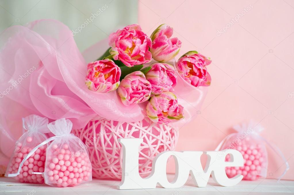 Pink Flowers And Handmande Love Letters Stock Photo C Zoiakostina