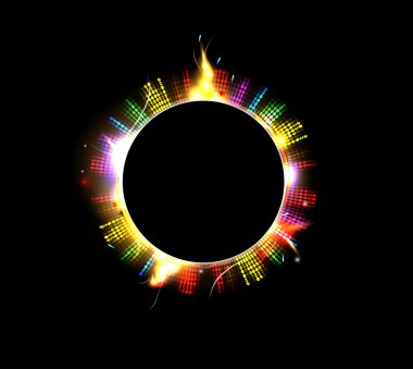 Space background abstract black sun and star