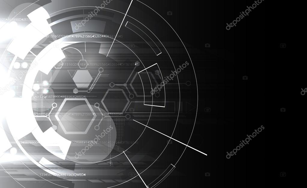 Abstract black and white computer technology business banner bac
