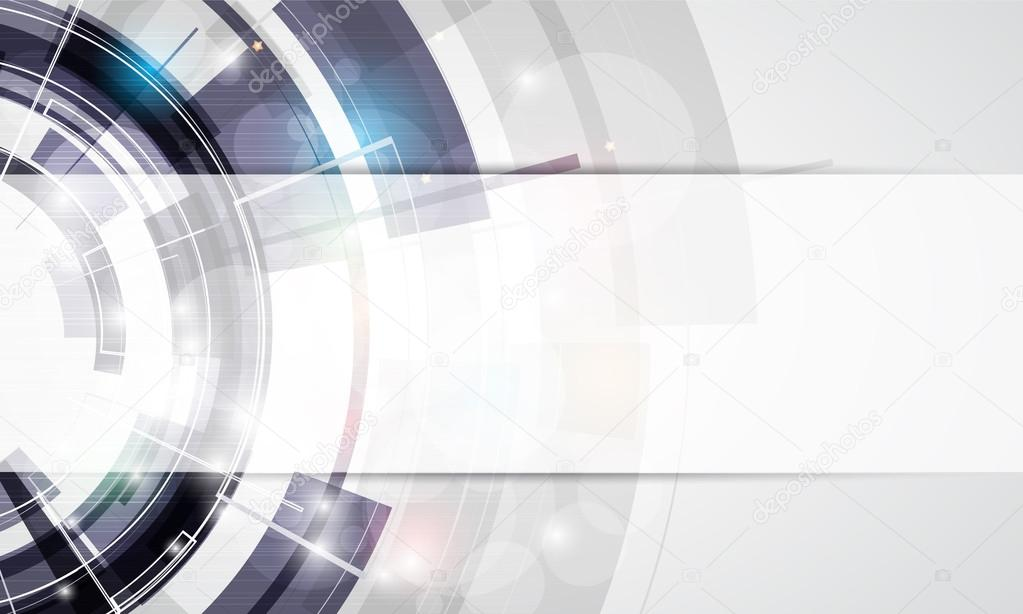 Abstract round grey technology business banner background