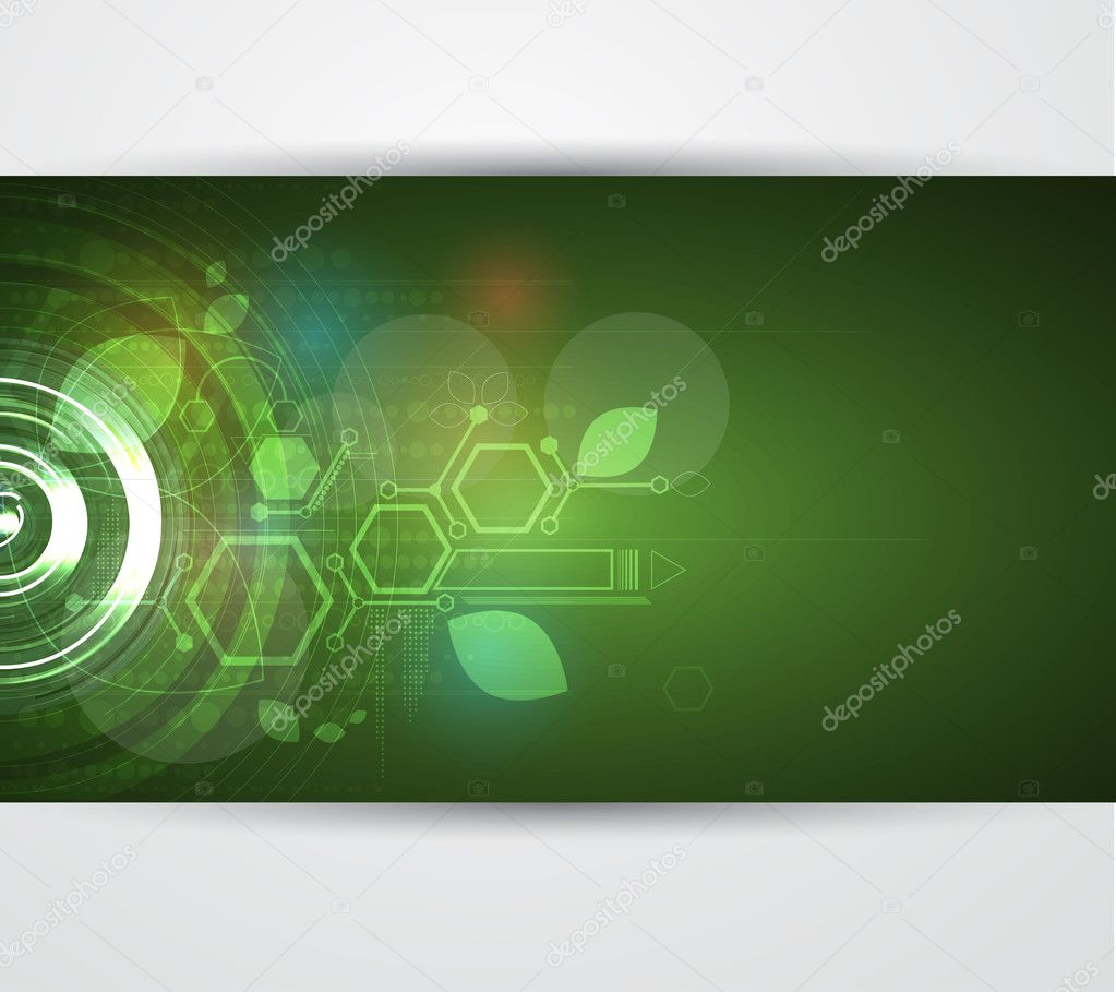Abstract green ecology computer technology business background