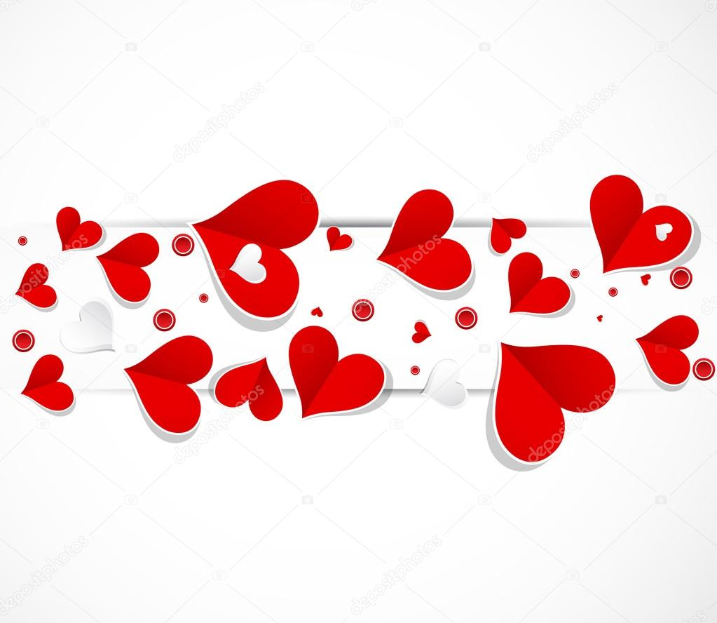 abstract love banner with paper hearts valentine day stock vector