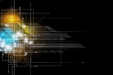 abstract dark circuit computer high technology business banner