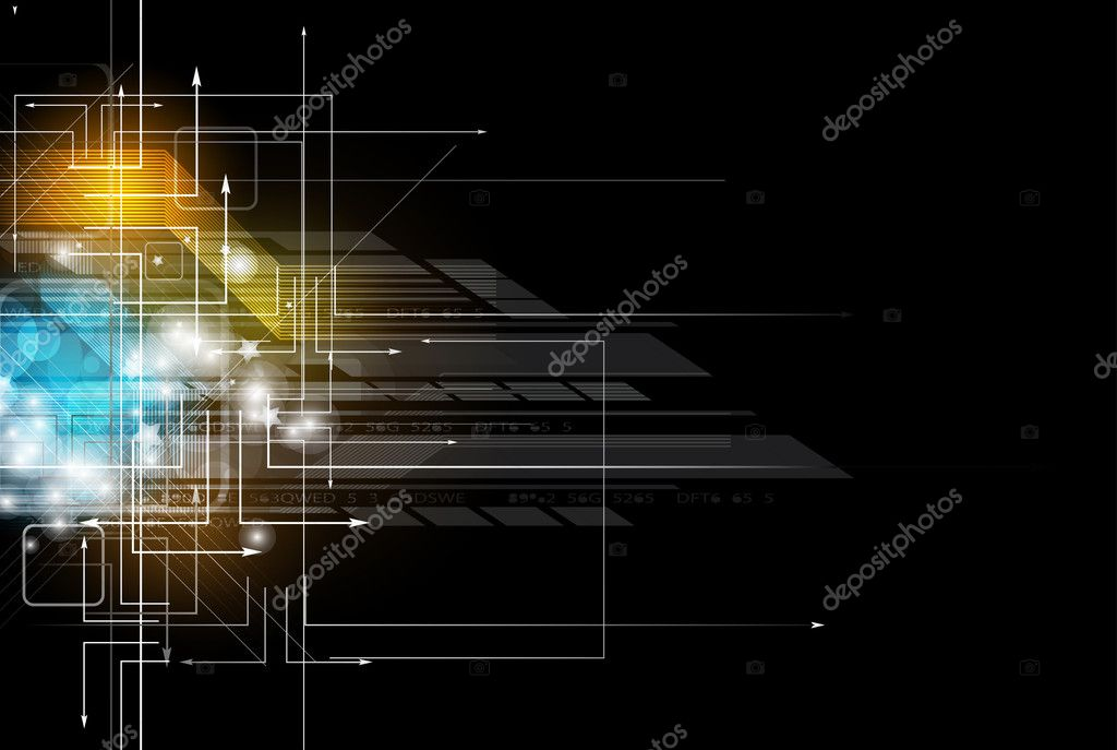 abstract dark circuit computer high technology business banner
