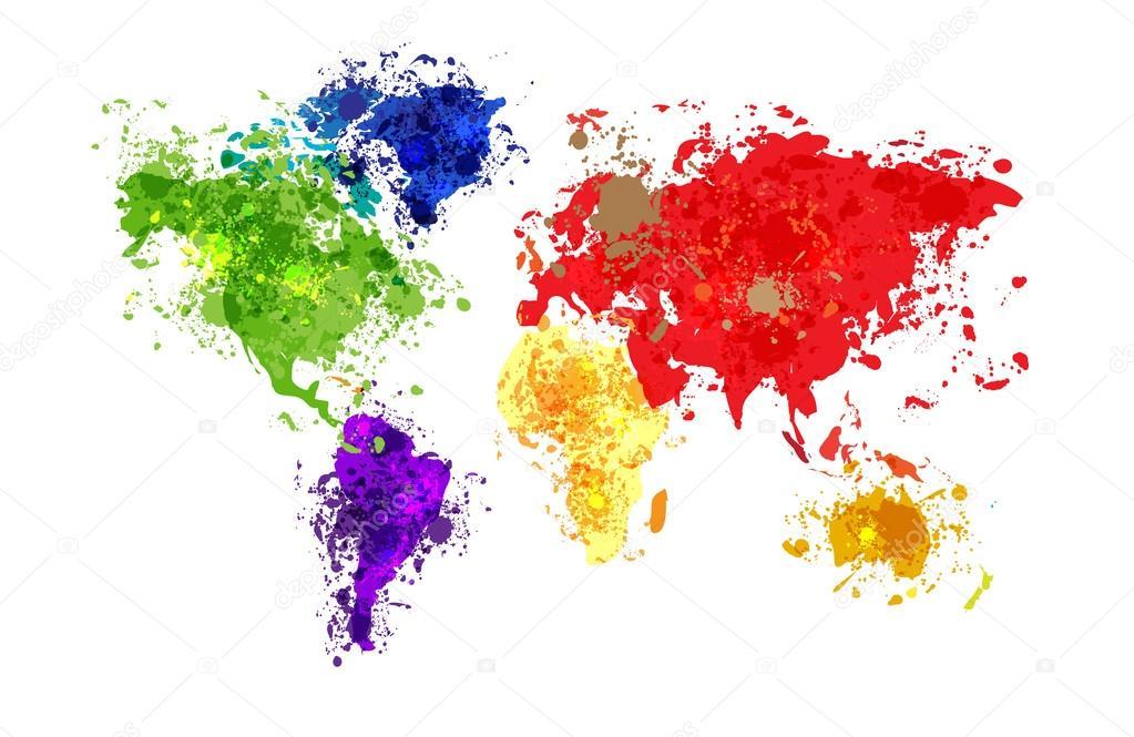 world map paint splattered stock vector vska 40840837. Black Bedroom Furniture Sets. Home Design Ideas