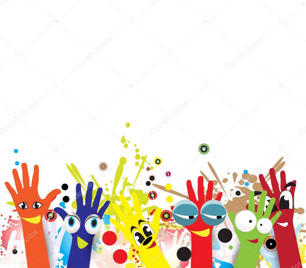 Mains d 39 enfants abstraite en peinture color e image vectorielle vska 46010983 - Peinture main enfant ...