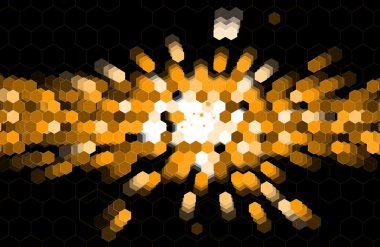 abstract black point hexagon business and information technology
