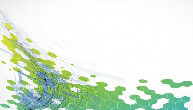 abstract green technology hexagon background