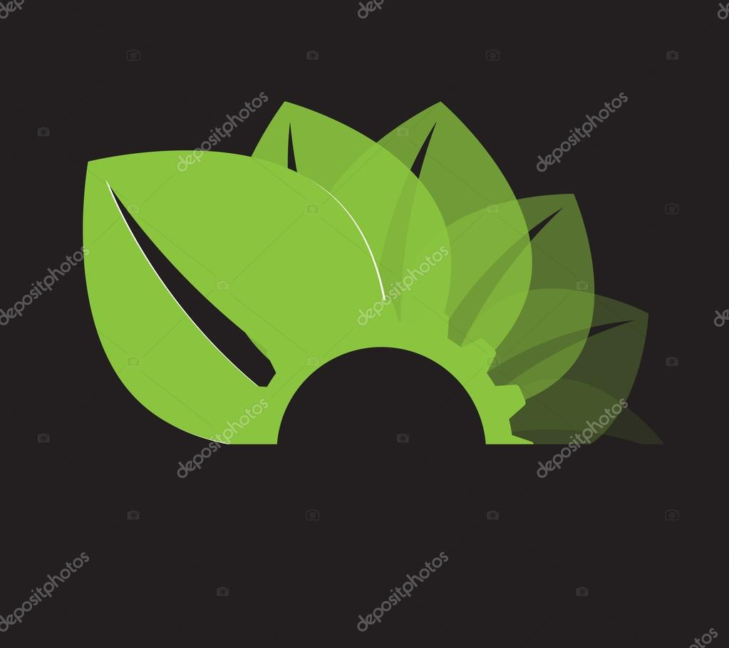 abstract green gear and leaf ecology business and technology com