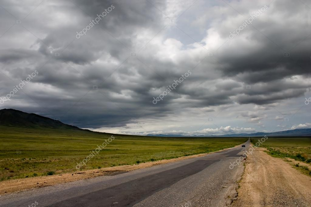 Road and dramatic sky