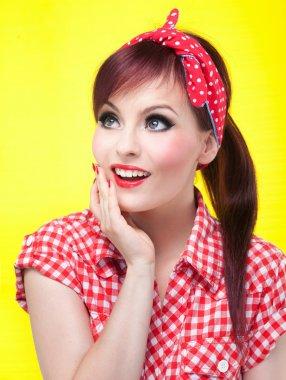Cheerful pin up girl