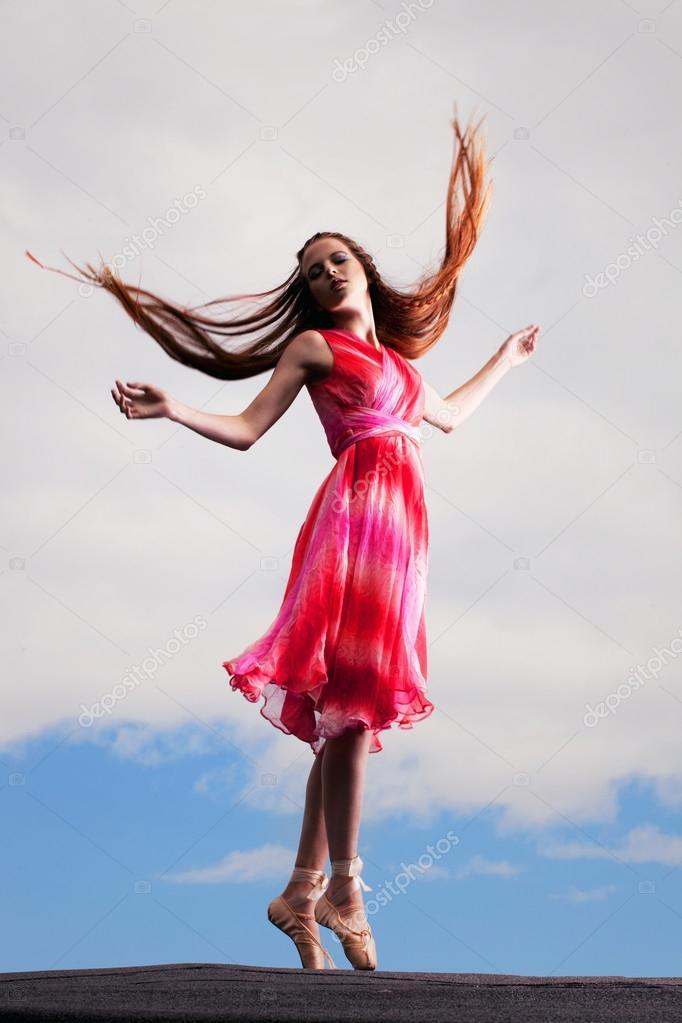 Ballerina dancing on the roof