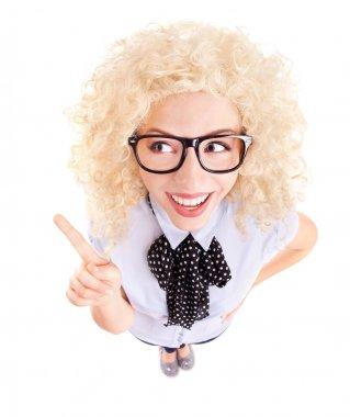 Funny businesswoman concept, fish eye lens portrait