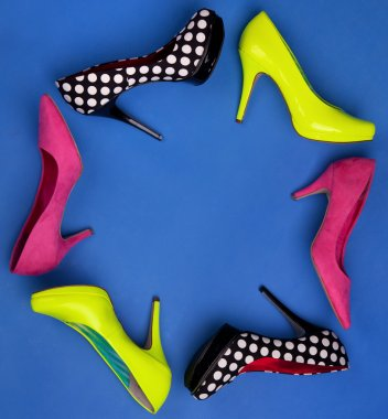 Colorful high heels frame