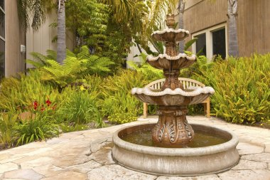 Smal backyard garden fountain San Diego California.