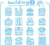 Evropské domy, budovy, ukládat, cestovní ikonami,