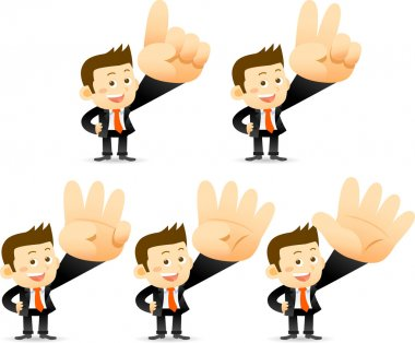 Businessman showing One,tow,three,fore, five clip art vector