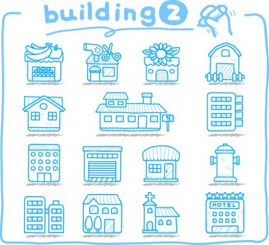 European houses, buildings,store ,travel icons,
