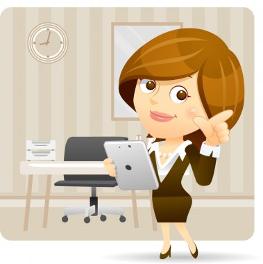 Businesswoman with tablet pc set