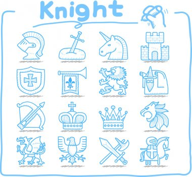 Hand drawn Knight icon set