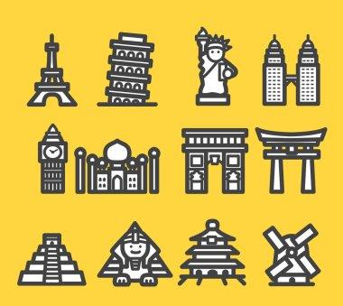 Travel, famous international historical landmark monuments icon set stock vector