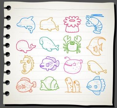 Sea creatures,animals icon set