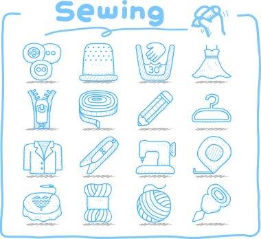 Hand drawn Sewing icon set