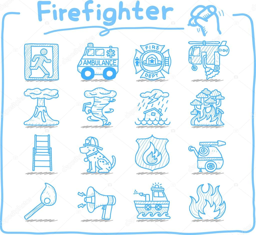 Hand drawn firefighter,fireman ,emergency icon set