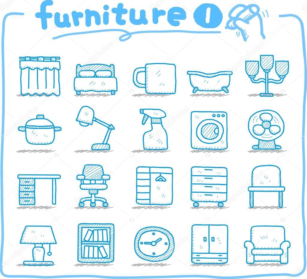 Icono de muebles dibujados a mano vector de stock for Stock de muebles