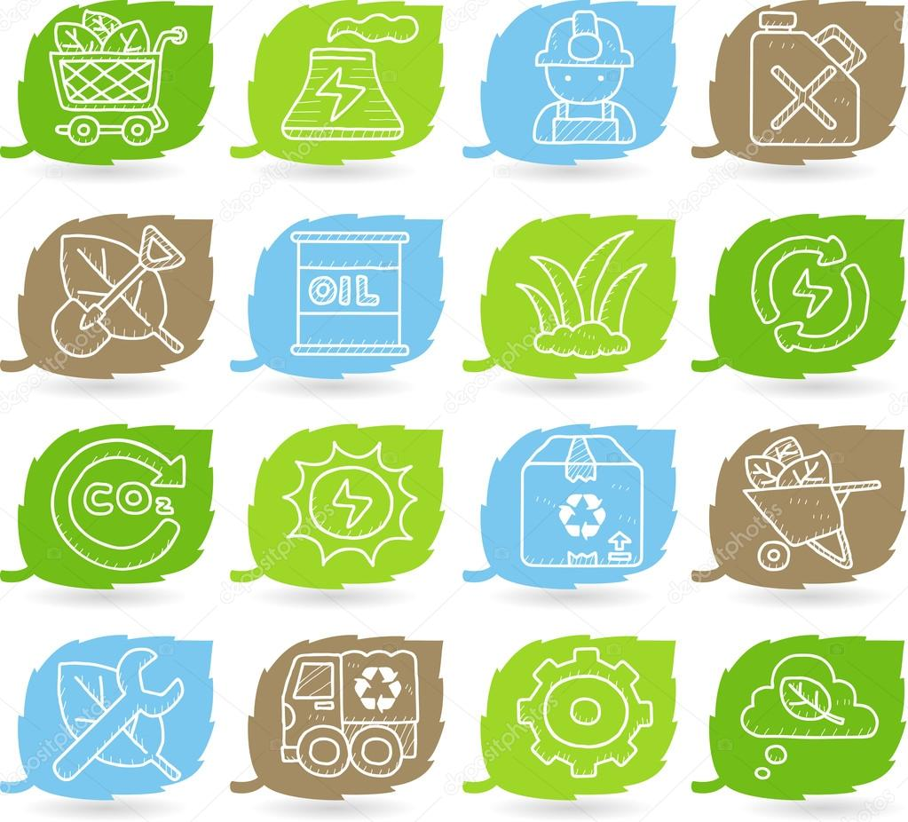 Green environment icon set