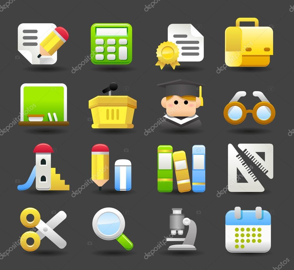 School,education icon set